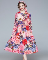 Crimp long big skirt long dress temperament printing dress