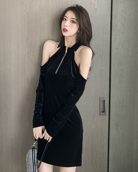 Zip long sleeve slim sexy autumn and winter dress