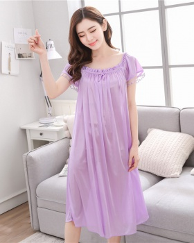 Middle-aged at home summer long conjoined night dress