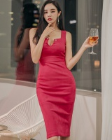 Long sexy V-neck Korean style slim package hip dress
