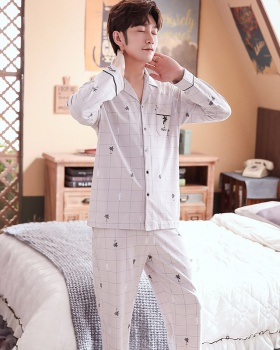 Thin cotton cardigan long sleeve combed pajamas a set for men