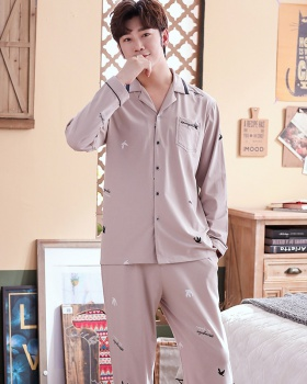 Combed autumn and winter pajamas thin cardigan a set