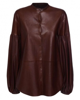 Cstand collar cardigan bubble leather coat