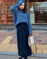 High collar thick sweater knitted skirt 2pcs set