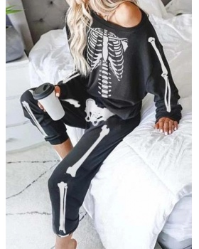 Pullover printing skull long pants 2pcs set