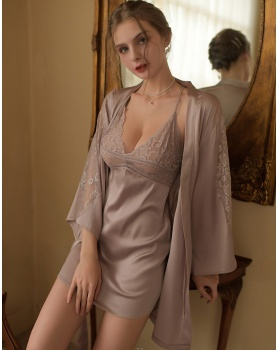 Light pajamas hollow nightgown a set for women