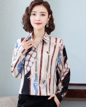 Long sleeve Western style tops floral chiffon shirt for women