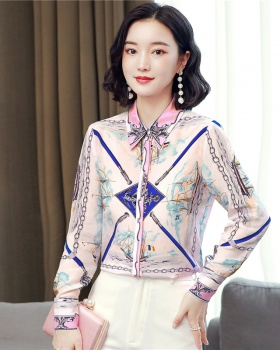 Printing chain real silk fine color printing shirt for women