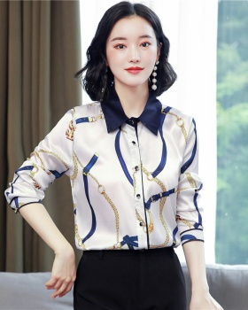 Printing real silk tops floral satin shirt for women