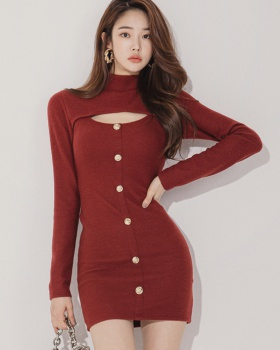 Single-breasted knitted package hip Korean style dress