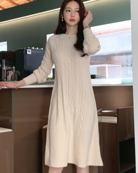 Knitted round neck sweater winter ribbon dress