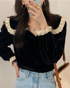 Bottoming V-neck all-match Korean style lace shirt