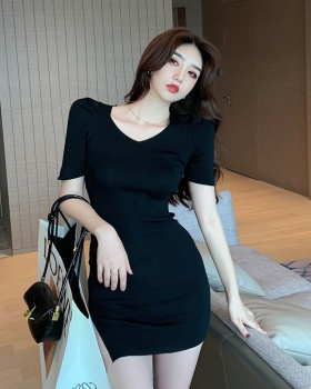 Puff sleeve V-neck package hip elasticity France style dress