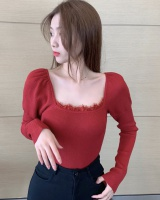Lace long sleeve clavicle retro tops