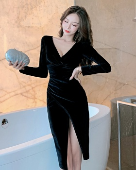 Low-cut ladies V-neck dress long sleeve sexy formal dress