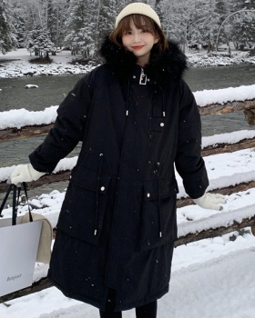 Large fur collar winter coat thick down coat for women