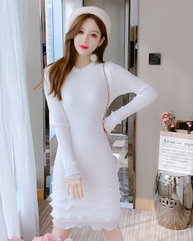 Autumn and winter sweater wears outside dress for women