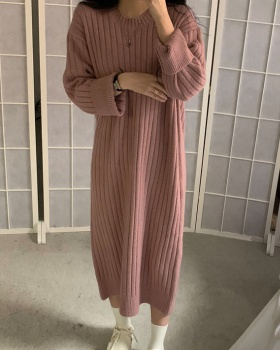 Simple thermal pure sweater long loose exceed knee dress