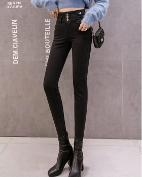 High waist tight pants show high autumn and winter jeans