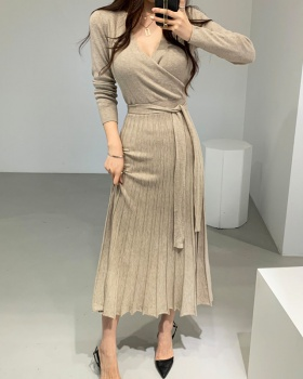 Bandage crimp high waist knitted exceed knee dress for women