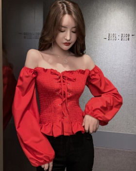 Sexy pure short puff sleeve slim strapless tops