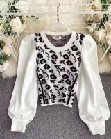 Loose short pullover tops autumn splice sweater for women