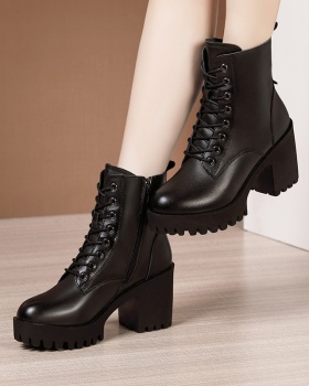 Low cylinder martin boots plus velvet boots for women