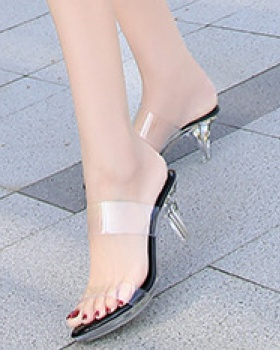 Middle-heel crystal high-heeled shoes Casual slippers