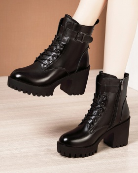 Frenum thick short boots British style half Boots
