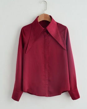 Summer beautiful tops wine-red shirt for women