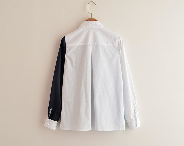 White Korean style tops summer splice shirt for women