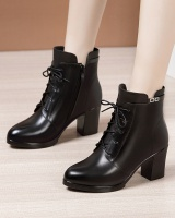 Middle-heel thick martin boots pointed short boots for women