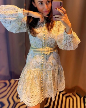 Long sleeve hollow printing embroidery lady slim dress