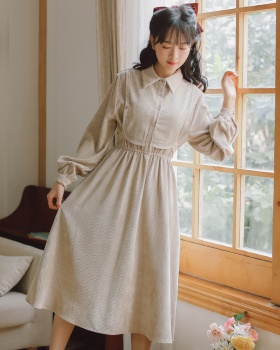 Pinched waist autumn and winter retro slim dress