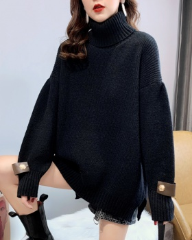 Retro long high collar loose sweater for women