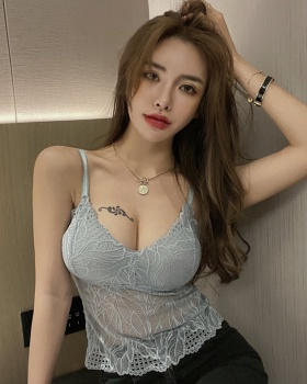 Lace hollow V-neck tops sexy bottoming vest for women