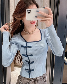 Mixed colors retro sweater slim bottoming shirt for women