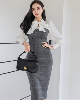 Autumn and winter bow slim Korean style dress