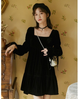 Retro pinched waist autumn and winter dress for women