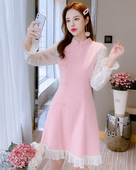 Knitted pinched waist slim dress for women