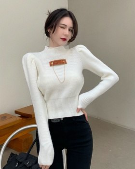 All-match high collar slim pure knitted bottoming shirt