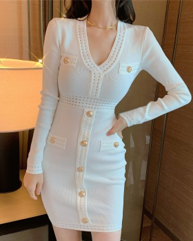 V-neck knitted buckle decoration bottoming dress for women