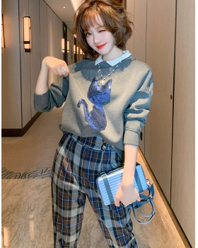 Doll collar sequins plaid pants space cotton cartoon hoodie a set