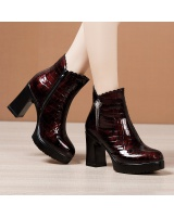 High-heeled martin boots round short boots for women