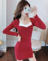 Slim V-neck Korean style temperament sexy dress