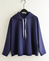 Hooded summer loose bat sleeve navy-blue pullover hoodie