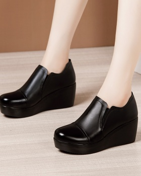 Middle-heel shoes thick crust platform for women