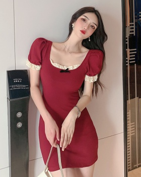 Retro red dress little sexy France style T-back