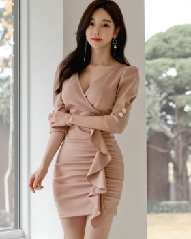 Korean style lotus leaf edges chouzhe dress for women