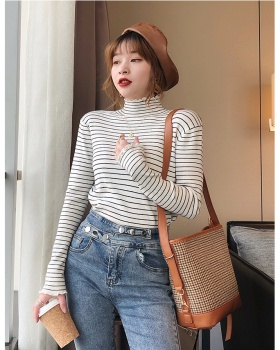 Knitted bottoming shirt half high collar tops for women